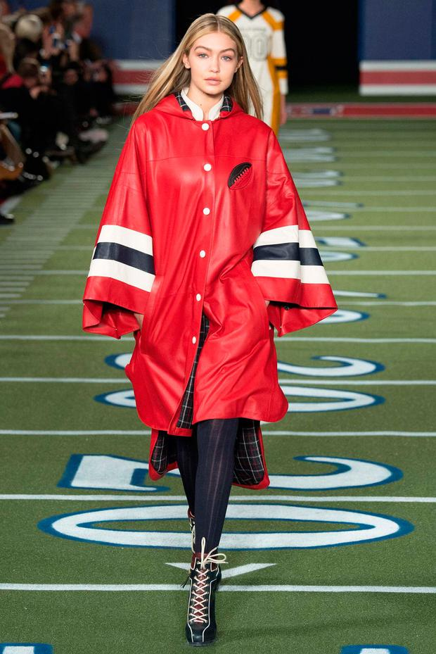db2ad81f5429 Gigi Hadid walks the runway during the Tommy Hilfiger fall 2015 fashion  show on February 16