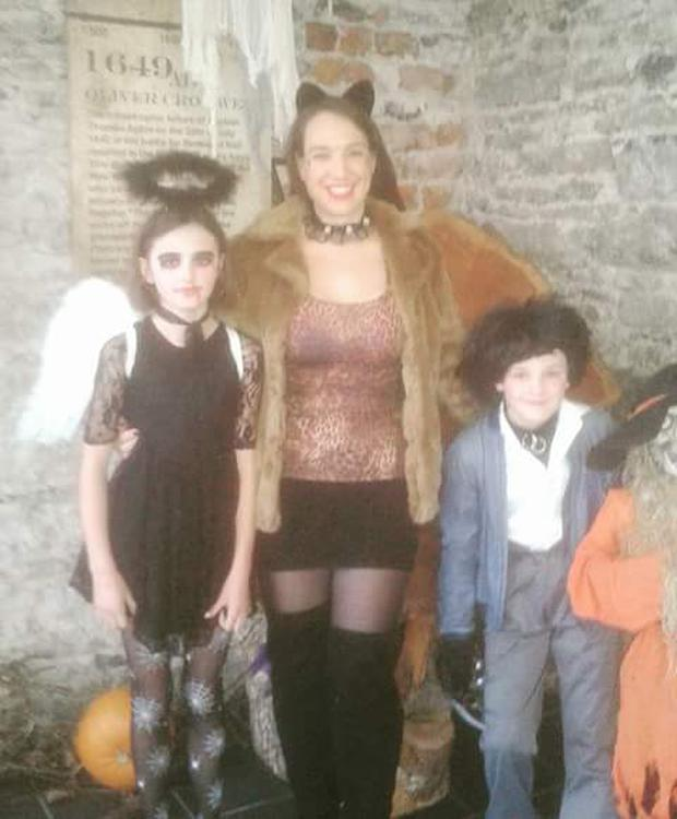 Audrey pictured with her children at Halloween. She underwent gastric band surgery when her youngest was 6 months old.