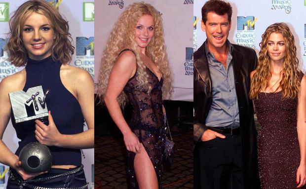 (L to R) Britney Spears, Geri Halliwell and Pierce Brosnan and Denise Richards at the 1999 MTV EMAs in Dublin
