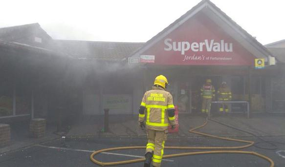 The fire at Supervalu. Photo: Twitter @DubFireBrigade