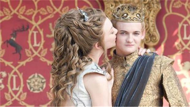 Joffrey (Jack Gleeson) and Margaery (Natalie Dormer) during a scene from 'Game Of Thrones' Purple Wedding