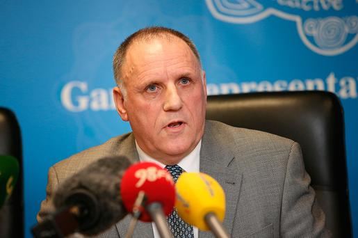 Pat Ennis General Secretary of the GRA, pictured during the GRA press conference at their offices in Phibsboro. Picture Credit : Frank Mc Grath