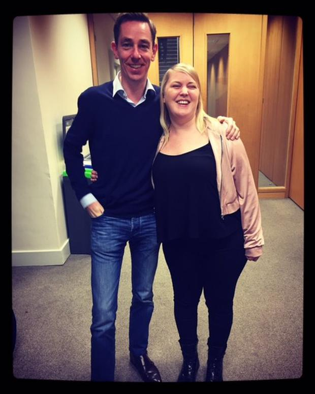Claire pictured with Ryan Tubridy this morning