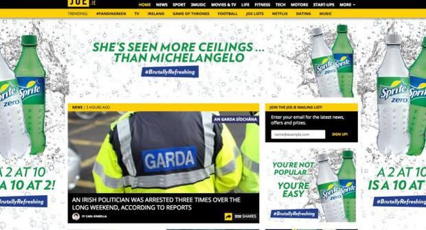 The advert featured on Joe.ie