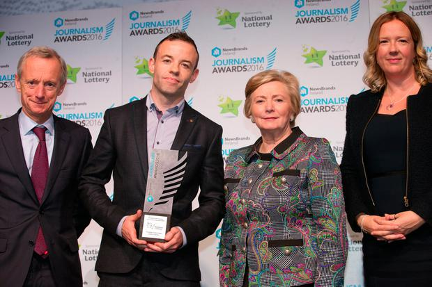 Vincent Crowley, Newsbrand Ireland with Best Foreign Coverage winner Jason O'Brien, Minister for Justice Francis Fitzgerald and Jenny Fisher, Head of Legal and Regulatory Affairs of Premier Lotteries Ireland at the Journalists Awards in The Mansion House. Photo: Tony Gavin