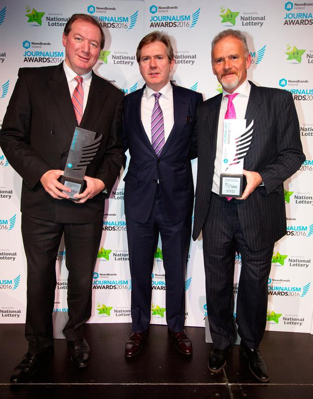 Sports Writer of the Year, Neil Francis, Stephen Rae, Editor in Chief, INM and Sports Story of the Year winner Vincent Hogan at the Journalists Awards in The Mansion House. Photo: Tony Gavin