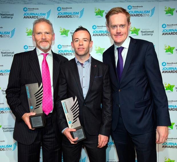 Sports Story of the Year winner Vincent Hogan with Best Foreign Coverage Winner Jason O'Brien and Irish Independent Editor Fionnan Sheehan at the Journalists Awards in The Mansion House. Photo: Tony Gavin