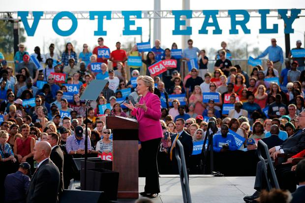 Democratic US presidential nominee Hillary Clinton speaks at a campaign rally at Pitt Community College in Winterville, North Carolina. Photo: Reuters