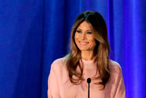 Melania Trump speaks at the Main Line Sports Center in Berwyn. Photo: AP