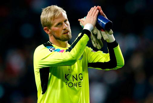 Schmeichel, whose stunning save in added time enabled Leicester to secure their fourth successive clean sheet in the Champions League, suffered the injury during the first half of the 0-0 stalemate. Photo: REUTERS