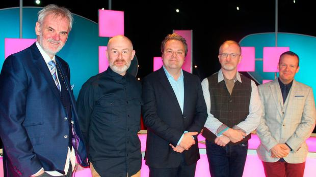Neil Delamere with his fellow 'The Blame Game' panelists Tim McGarry, Colin Murphy and Jake O'Kane
