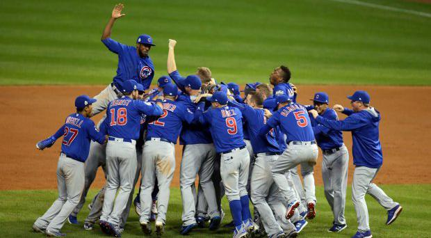 Chicago Cubs players celebrate their World Series victory against the Cleveland Indians. Picture: Reuters