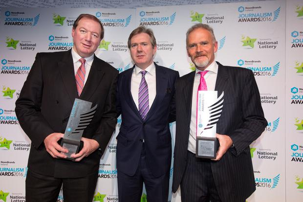 'Sports Writer of the Year' Neil Francis, Stephen Rae, Editor-In-Chief, INM, and 'Sports Story of the Year' winner Vincent Hogan Photos: Tony Gavin.