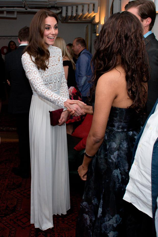 Catherine, Duchess of Cambridge, Patron of Action on Addiction, meets with stars, cast and crew, and representatives from her charity at the Working Titles office where she sees highlights of the Recovery Street Film Festival on November 3, 2016 in London, United Kingdom. (Photo by Justin Tallis - WPA Pool/Getty Images)