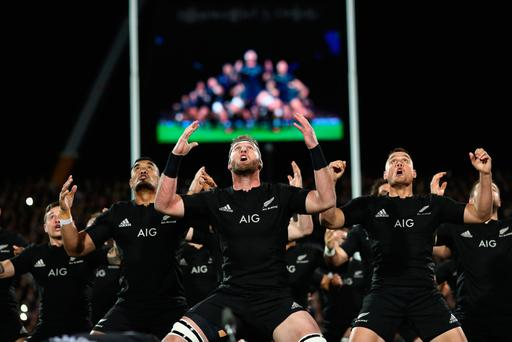 New Zealand players perform the Haka before a match Photo: Phil Walter/Getty Images