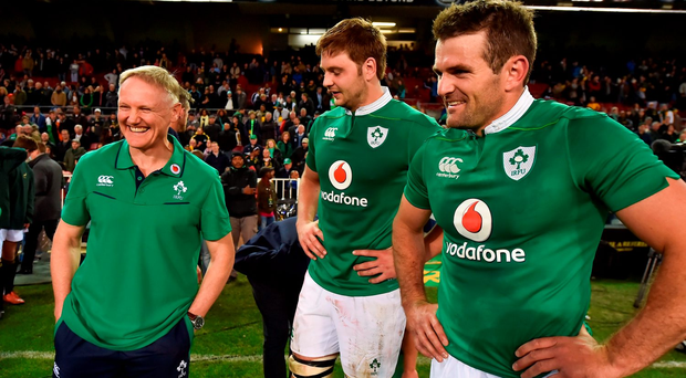 Ireland head coach Joe Schmidt, left, with Iain Henderson, centre, and Jared Payne after Ireland's win over South Africa. Photo: Sportsfile