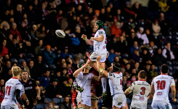 Ulster's Franco Van der Merwe wins possession in a lineout. Photo by Graham Stuart/Sportsfile