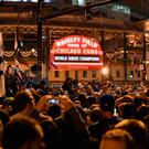 Fans gather outside Wrigley Field on Wednesday night Photo: Patrick Gorski/ USA Today Sports