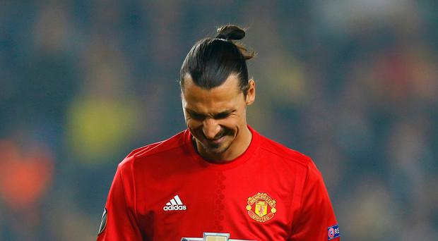 Frusration is the name of the game for Zlatan Ibrahimovic as yet another chance goes abegging. Photo: Reuters
