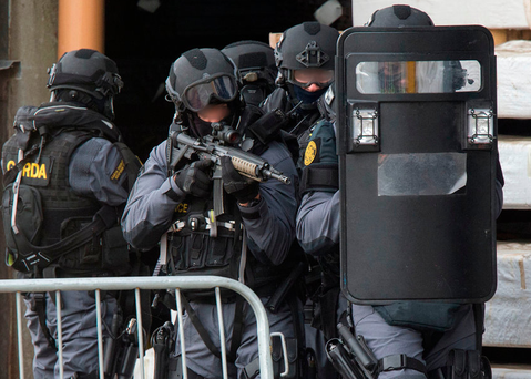 The Garda Emergency Response Unit take part in a training exercise at Drogheda Port Photo: Colin O'Riordan