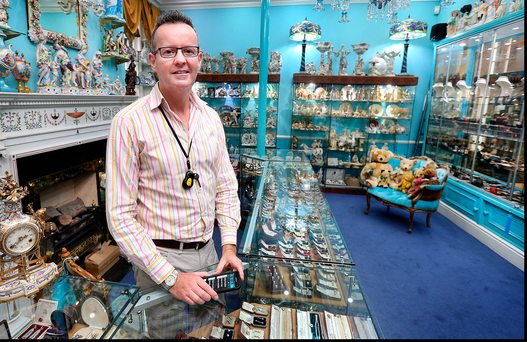 Declan Corrigan, owner of Delphi Antiques in the Powerscourt shopping centre in Dublin Photo: Steve Humphreys
