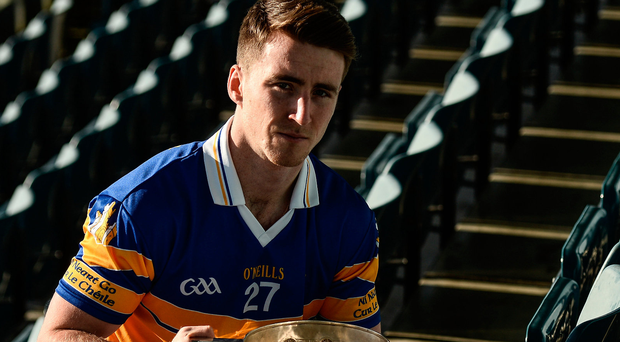 Shane Boland will be hoping to get his hands on the Dublin SFC trophy for real this afternoon. Photo: Sportsfile