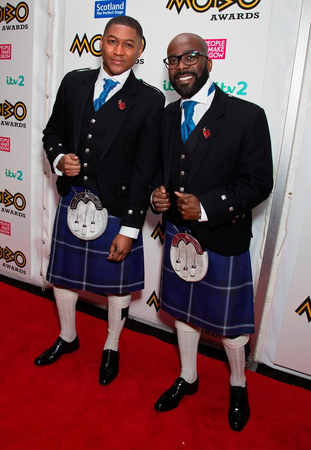 GLASGOW, SCOTLAND - NOVEMBER 04: Rickie Haywood-Williams and Melvin Odoom attend the Mobo Awards at The SSE Hydro on November 4, 2016 in Glasgow, Scotland. (Photo by Jo Hale/Getty Images)