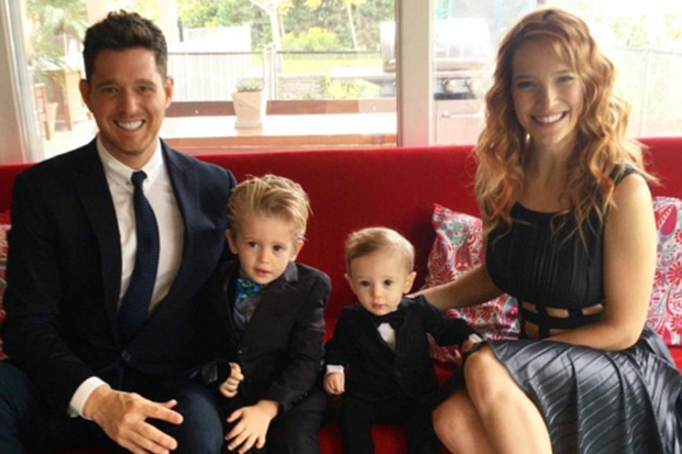 Michael Buble, Noah, nine-month-old son Elias and wife Luisana Lopilato