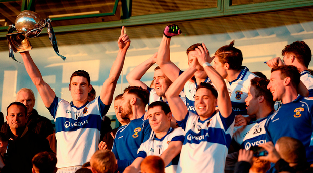St Vincent's captain Diarmuid Connolly lifts the Clery Cup follwing his team's victory during the Dublin County Senior Club Football Championship Final between Castleknock and St Vincent's at Parnell Park in Dublin. Photo by Seb Daly/Sportsfile