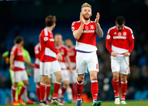 Middlesbrough's Adam Clayton celebrates at full time