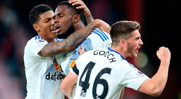 Sunderland's Victor Anichebe (centre) celebrates at the final whistle