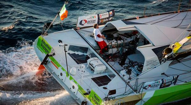 Enda O'Coineen preparing for the Vendée Globe race on his Kilcullen Voyager yacht