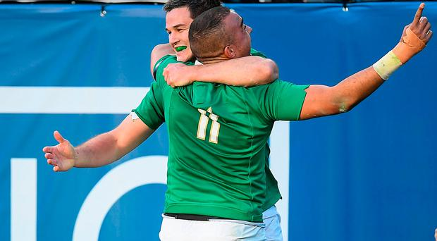 Simon Zebo, right, celebrates with team-mate Jonathan Sexton after scoring their side's fourth try against New Zealand during the International rugby match between Ireland and New Zealand at Soldier Field in Chicago, USA. Photo by Brendan Moran/Sportsfile