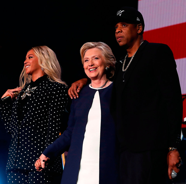 Star power: Beyonce, Hillary Clinton and Jay Z campaigning Photo: Justin Sullivan/Getty Images