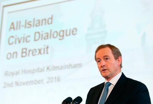Talks: Taoiseach Enda Kenny spoke at the All-Island Civic Dialogue on Brexit in Dublin last week Photo: Brian Lawless/PA Wire
