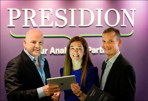 Sean Gallagher with Presidion co-founder and director Cathy McGennis and CEO Pierre Baviera. Photo: David Conachy