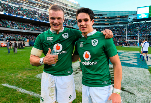 Josh van der Flier, left, and Joey Carbery of Ireland celebrate after the International rugby match between Ireland and New Zealand at Soldier Field in Chicago, USA. Photo by Brendan Moran/Sportsfile