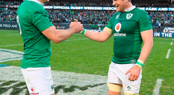 Jonathan Sexton, left, and Jamie Heaslip of Ireland celebrate victory