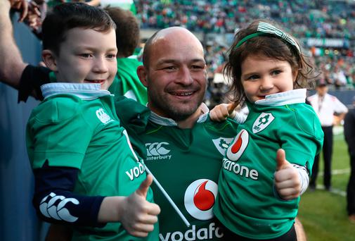 Ireland's captain Rory Best celebrates last night's historic victory over New Zealand. Photo: Phil Walter/Getty Images