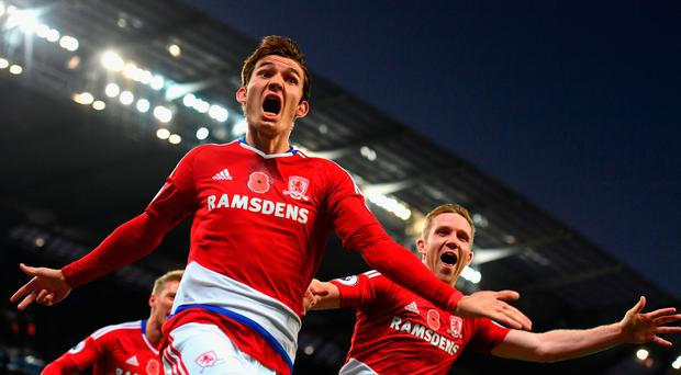 Middlesbrough's Marten de Roon of celebrates scoring the equaliser. Photo: Getty