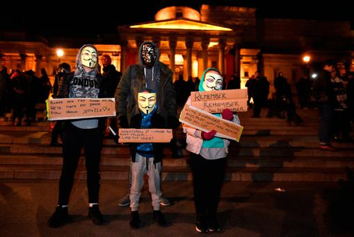Protestors demonstrate in Trafalgar Square, London, during the Million Mask March bonfire night protest organised by activist group Anonymous.Credit: David Mirzoeff/PA Wire