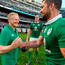 Ireland head coach Joe Schmidt, left, and Rob Kearney celebrate victory after the International rugby match between Ireland and New Zealand at Soldier Field in Chicago