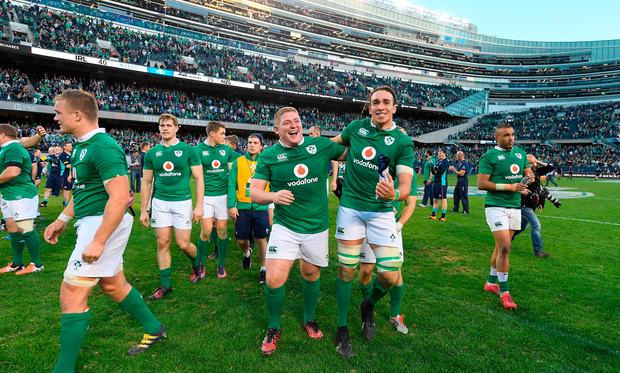 Ireland players Tadhg Furlong and Ultan Dillane celebrate victory after the International rugby match between Ireland and New Zealand at Soldier Field in Chicago