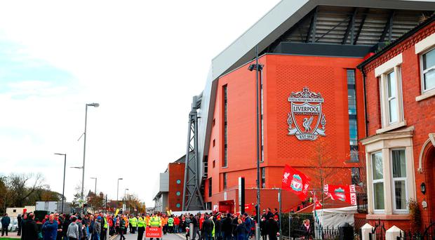 A general view from outside the stadium prior to the Premier League match between Liverpool and Watford at Anfield