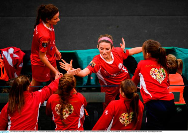 Siobhan Killeen of Shelbourne Ladies is congratulated after being substituted late in the game during the Continental Tyres FAI Women's Senior Cup Final game between Shelbourne Ladies and Wexford Youths at Aviva Stadium in Lansdowne Road, Dublin. Photo by Stephen McCarthy/Sportsfile