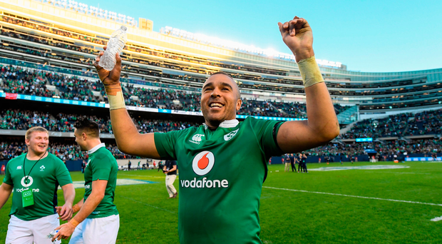 Simon Zebo of Ireland celebrates after the International rugby match between Ireland and New Zealand at Soldier Field in Chicago, USA. Photo by Brendan Moran/Sportsfile