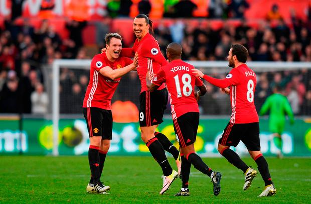 Zlatan Ibrahimovic of Manchester United celebrates scoring his side's second goal