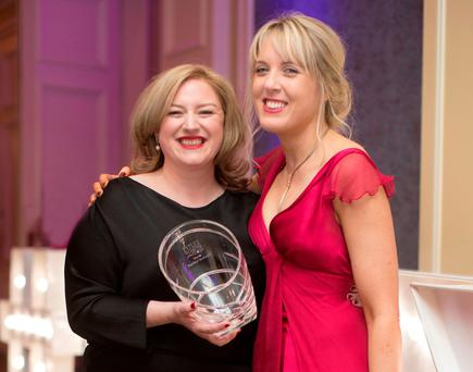 INM Group Business Editor Dearbhail McDonald with Head of News Jane Last at the Irish Tatler Women of the Year Awards. Photo: Fergal Phillips