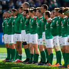 Ireland stand for the anthems in Chicago. Photo: Brendan Moran/Sportsfile