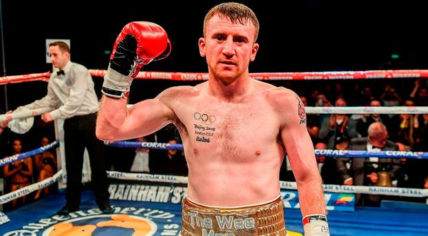 Two-time Olympic medallist Barnes (29) beat rival Stefan Slachev in bizarre circumstances at the Titanic Centre bout after his opponent was disqualified in the fourth round for lifting him. Photo by Ramsey Cardy/Sportsfile
